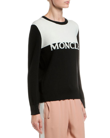 Moncler Bicolor Wool/Cashmere Logo Sweater