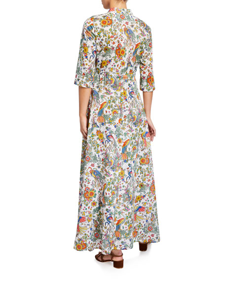 Tory Burch Printed 3/4-Sleeve Long Shirt Dress