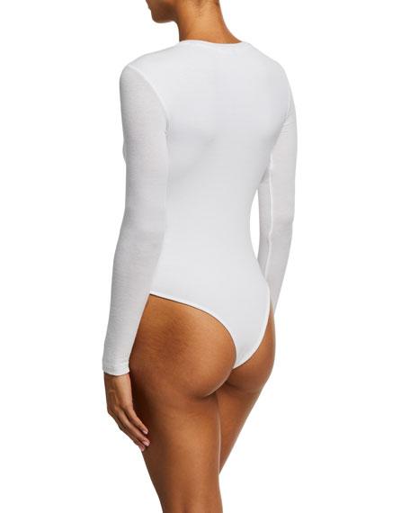 ATM Anthony Thomas Melillo Long-Sleeve Henley Bodysuit