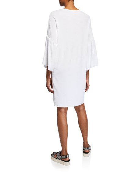 ATM Anthony Thomas Melillo Ruffle-Sleeve Scoop-Neck Tee Dress