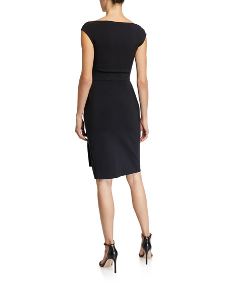 Chiara Boni La Petite Robe Melania Off-the-Shoulder Cap-Sleeve Dress w/ Front Cutout