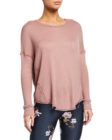 Onzie Waffle Knit Raglan-Sleeve Shirt