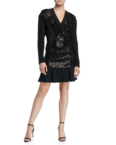 Mara Tiered Sequined Long-Sleeve Ruffle Dress