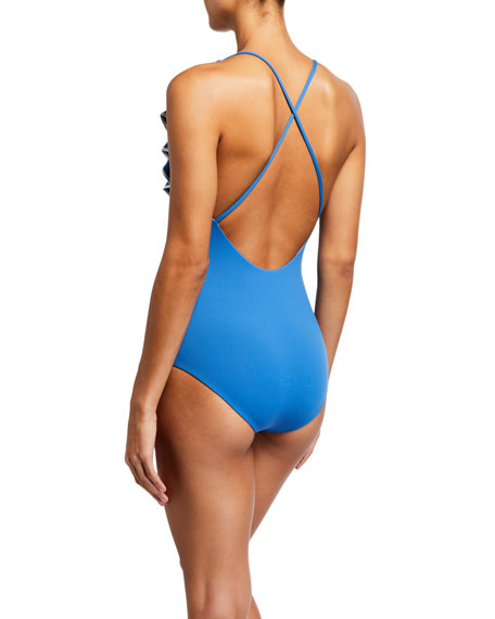 Marysia Palisades Ruffle Maillot One-Piece Swimsuit with Piping