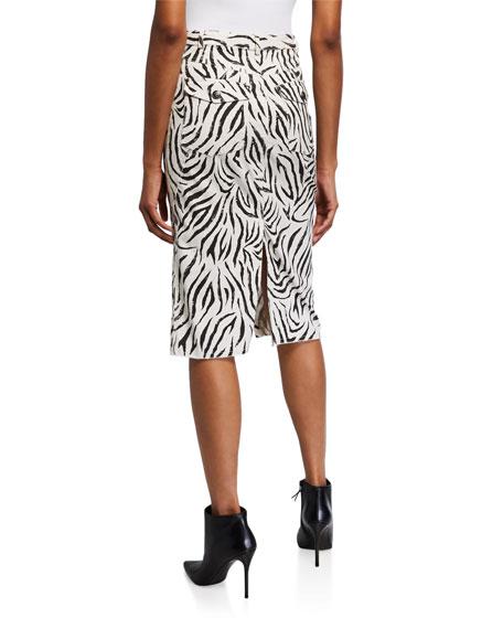 ATM Anthony Thomas Melillo Zebra-Print Denim Straight Skirt