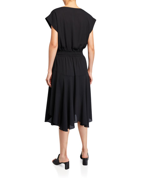 ATM Anthony Thomas Melillo Boat-Neck Georgette Drawstring-Waist Dress