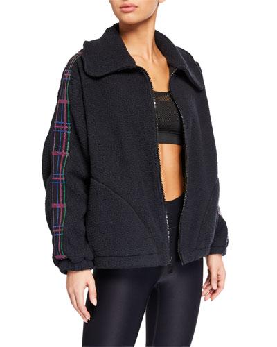 American Dream Fleece Jacket w/ Plaid Elastic Trim