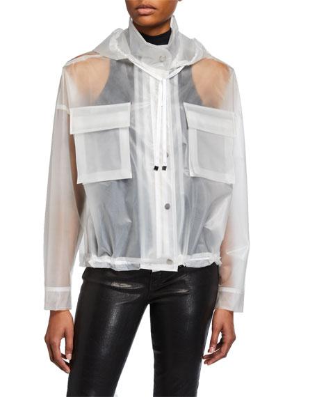 ATM Anthony Thomas Melillo Sheer Hooded Rain Jacket