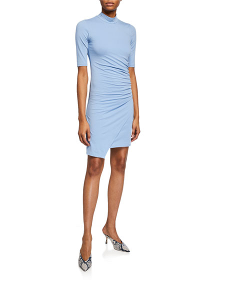 ATM Anthony Thomas Melillo Pima Cotton Side-Drape Mock-Neck Dress