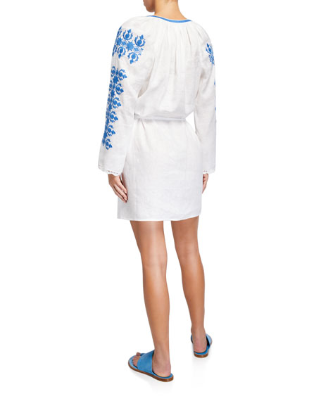 Tory Burch Embroidered Linen Long-Sleeve Coverup Dress