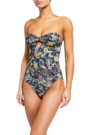 Tory Burch Printed Cutout Bandeau One-Piece Swimsuit