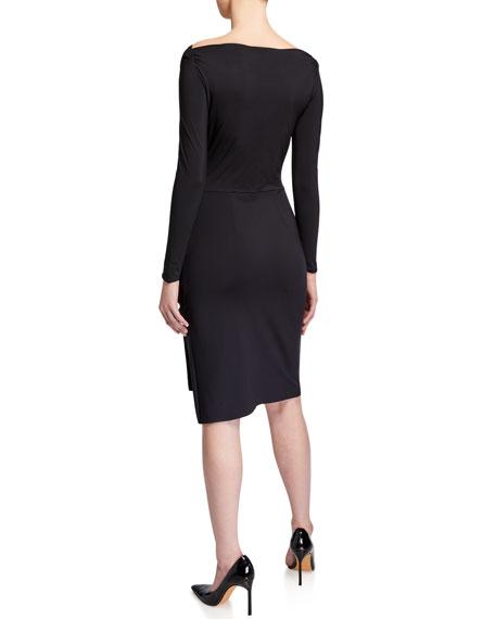 Chiara Boni La Petite Robe Cassandre Boat-Neck Long-Sleeve Gathered Dress