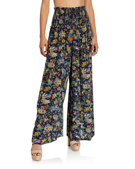 Tory Burch Smocked Printed Beach Coverup Pants