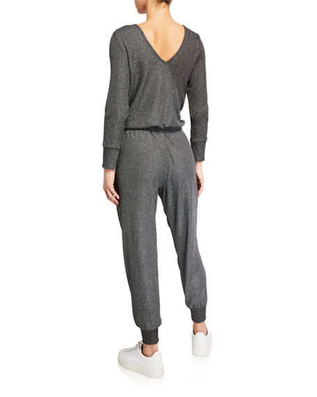 Image 2 of 2: Terez Metallic Luxe Colorblock Long-Sleeve Waffle Jumpsuit
