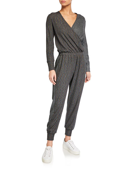 Image 1 of 2: Terez Metallic Luxe Colorblock Long-Sleeve Waffle Jumpsuit