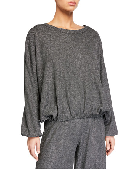 Terez Metallic Shimmer Knit Puff-Sleeve Waffle Top