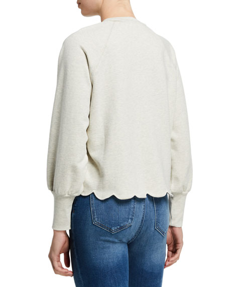 FRAME Scalloped Crewneck Pullover Sweater