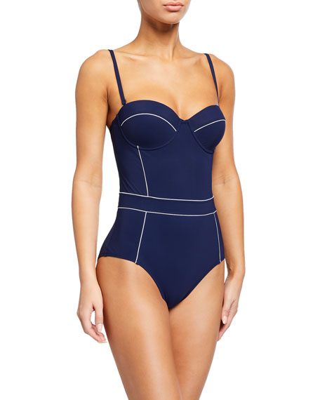 Tory Burch Lipsi Trimmed One-Piece Swimsuit