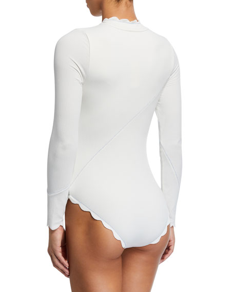 Marysia North Sea Scalloped Rashguard One-Piece Swimsuit