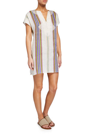 Tory Burch Striped Linen Embroidered Coverup Tunic
