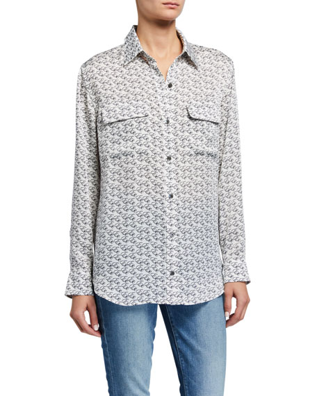 Equipment Signature Printed Button-Down Shirt