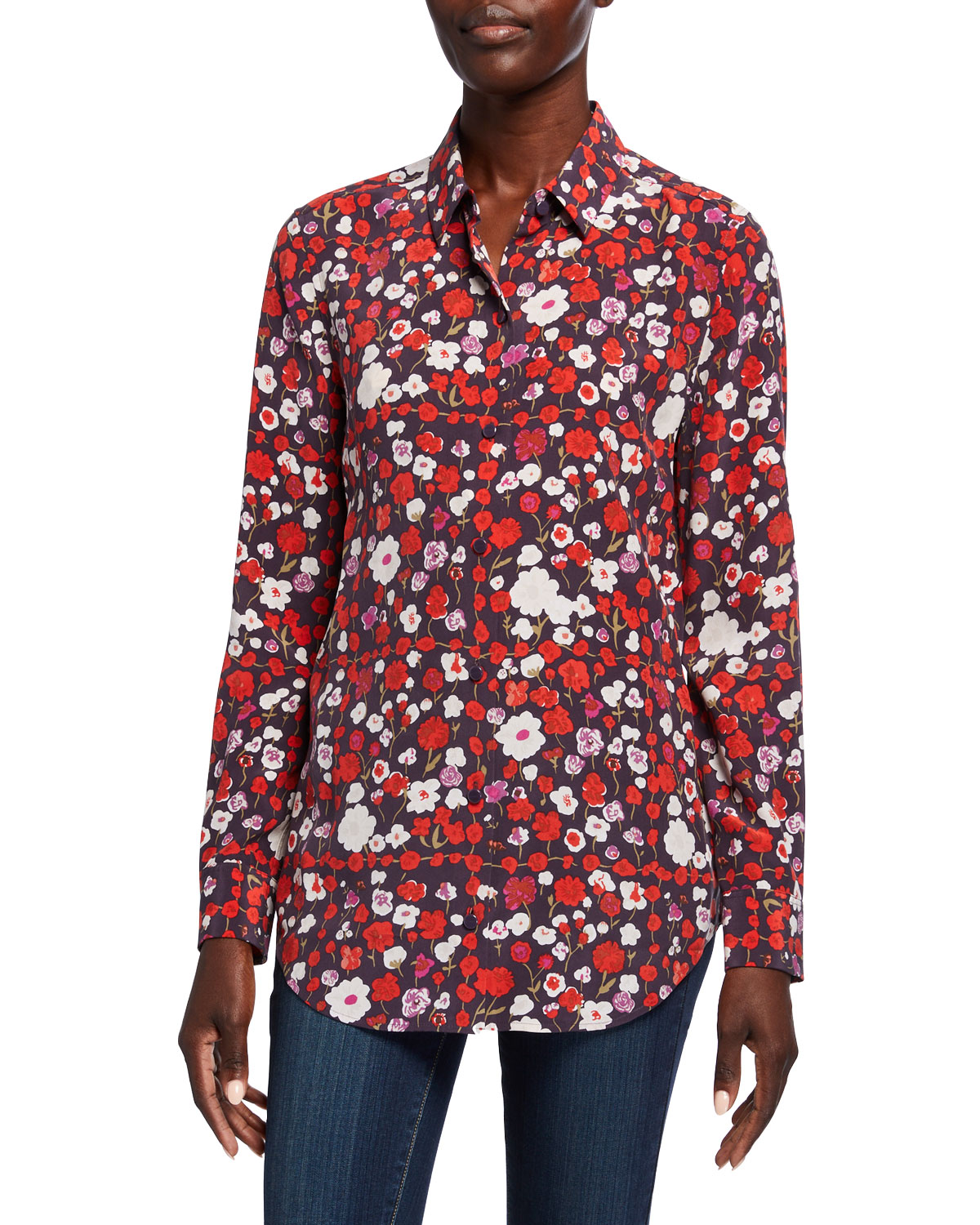 Equipment Essential Floral Button-Down Silk Shirt