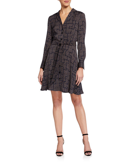 Equipment Yarrowe Printed Button-Front Long-Sleeve Dress