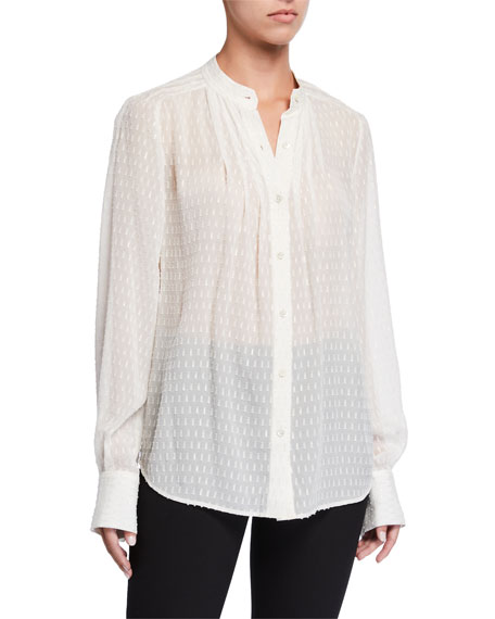 Equipment Perce Textured Button-Down Pleated Blouse