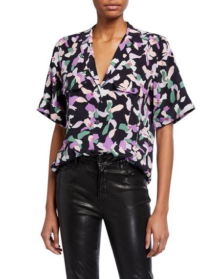 Equipment Parnella Floral Button-Front Silk Blouse