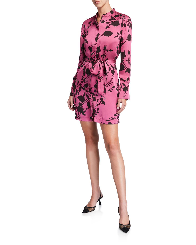 Equipment Roseabelle Floral Button-Down Short Charmeuse Dress