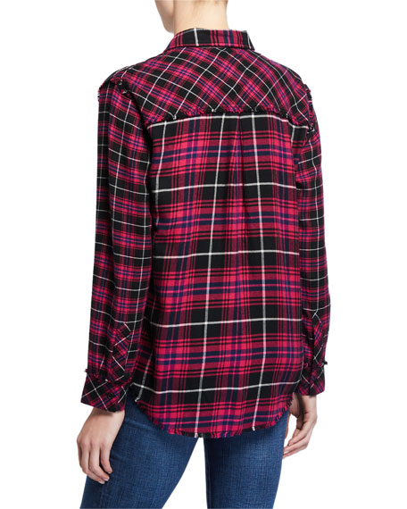 Image 2 of 2: Rails Brock Plaid Button Down Frayed Hem Top