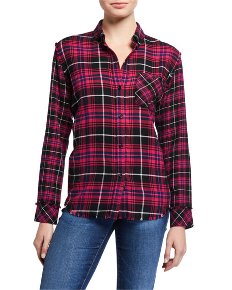 Image 1 of 2: Rails Brock Plaid Button Down Frayed Hem Top