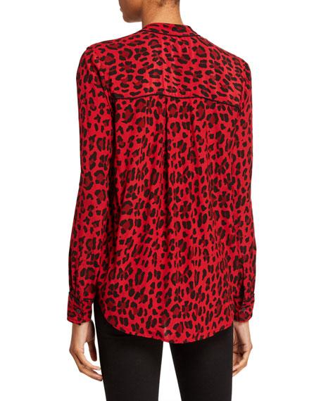 Rails Lillian Leopard Print Button-Down Long-Sleeve Top