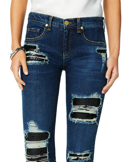 Ramy Brook Naomi Distressed Sequined Skinny Jeans