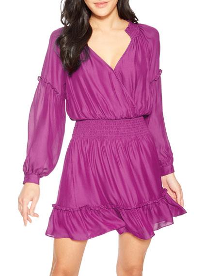 Parker Parma Long-Sleeve Surplice Flounce Dress