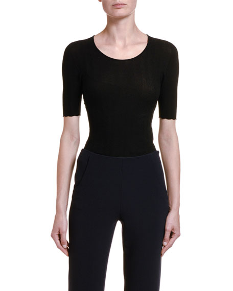 Image 1 of 2: Giorgio Armani 1/2-Sleeve Wavy Knit Tee, Black