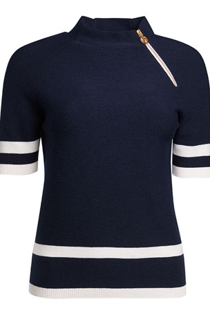 Giorgio Armani Nautical Knit Wool Sweater with Zip Detail