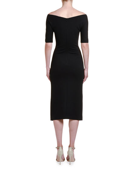 Image 2 of 2: Giorgio Armani Ruched Jersey 1/2-Sleeve Dress