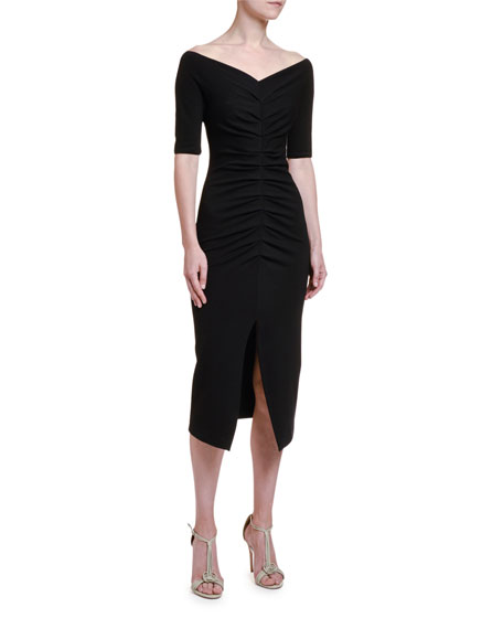 Image 1 of 2: Giorgio Armani Ruched Jersey 1/2-Sleeve Dress