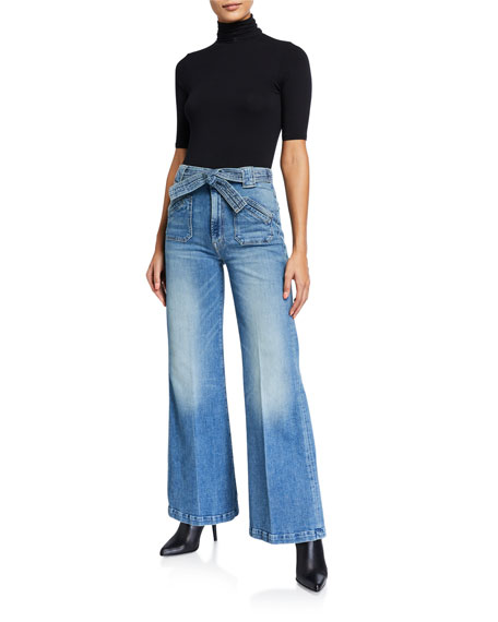MOTHER The Tie Patch Roller Wide-Leg Jeans