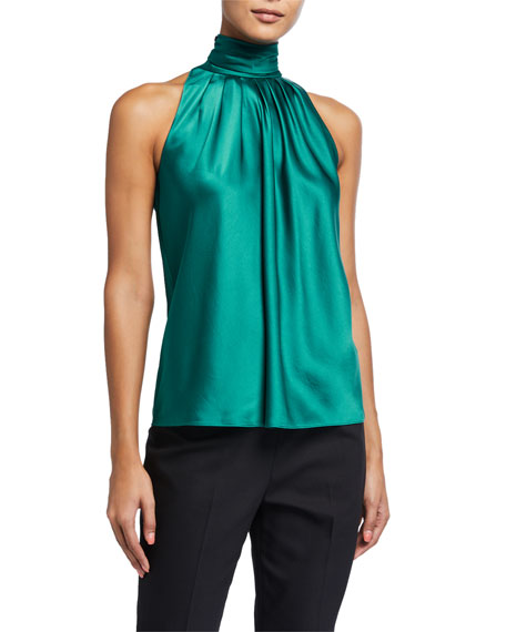 Image 1 of 2: Dover Satin High-Neck Top