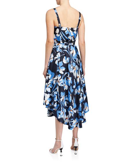 Milly Hibiscus Print Silk Twill Bustier Midi Dress