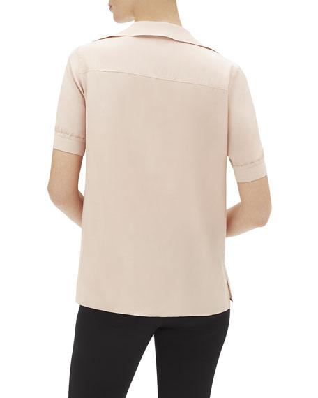 Lafayette 148 New York Winifred Short-Sleeve Matte Silk Blouse