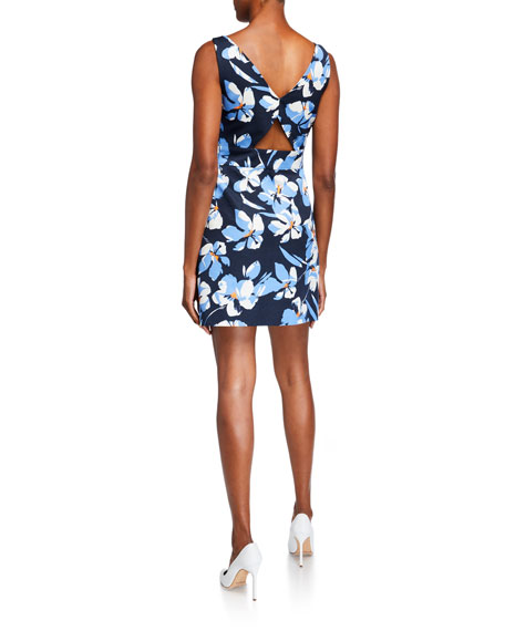 Milly Hibiscus Printed V-Neck Sleeveless Faille Dress