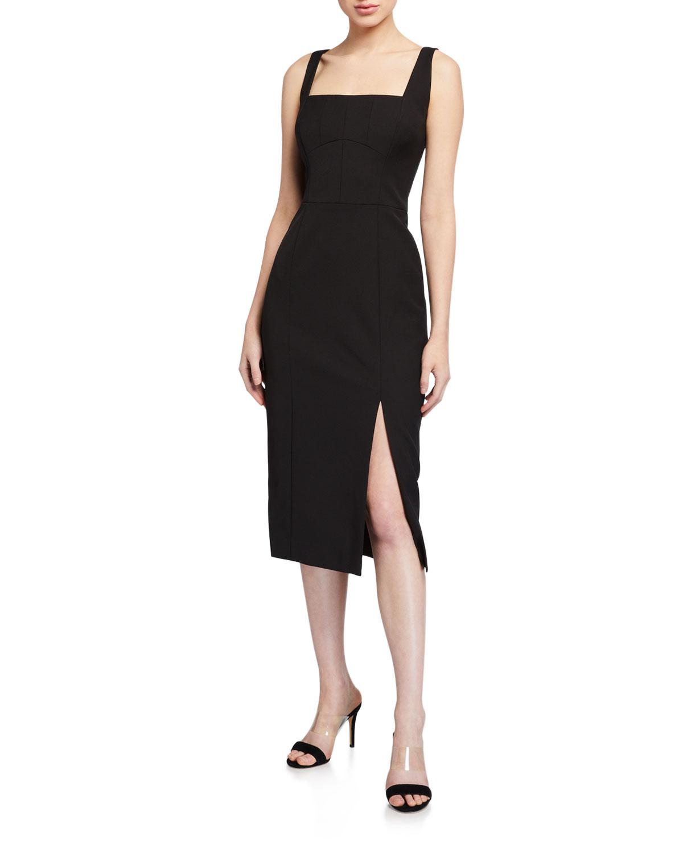 Milly Rita Square-Neck Sleeveless Cady Dress