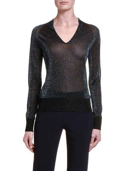 Giorgio Armani Shimmered V-Neck Sweater