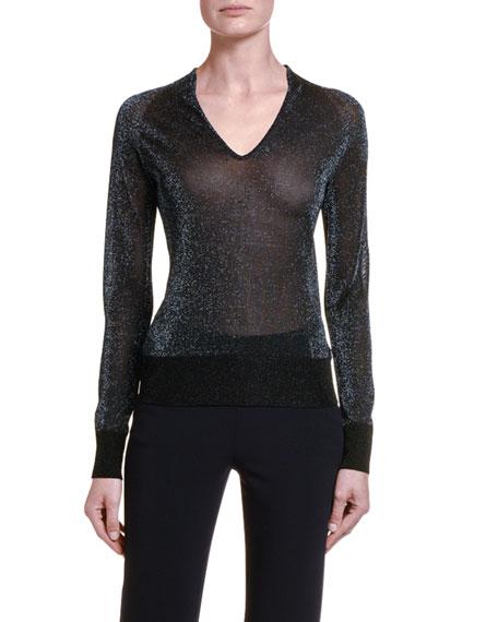 Giorgio Armani Sweaters SHIMMERED V-NECK SWEATER