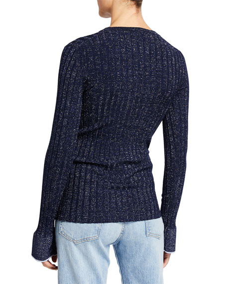 Derek Lam 10 Crosby Fitted Ribbed Crewneck Pullover