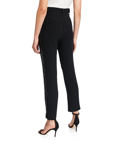 Derek Lam 10 Crosby Straight-Leg Trousers with Rhinestone Tuxedo Stripes