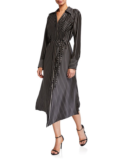 Milly Striped Charmeuse Button-Up Midi Dress